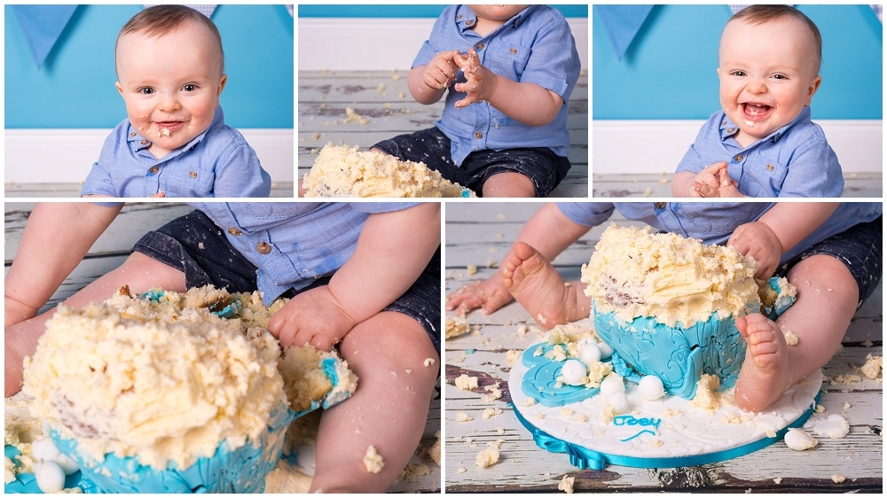 Cake Smash, Baby, Birthday, Cake, Smash, Bunting, blue, boy, eat, mess, glasgow, shotts, cambuslang, photography, portrait, photographer, Mark McCue, MMc Photography, www.mmcphotos.co.uk, www.mmcphotos.com