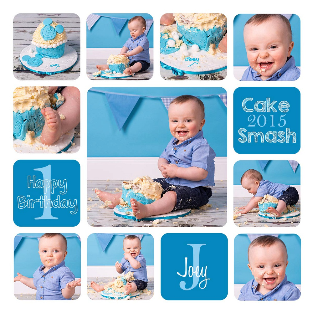 Cake Smash, Baby, Birthday, Cake, Smash, Bunting, blue, boy, eat, mess, glasgow, shotts, cambuslang, photography, portrait, photographer, Mark McCue, MMc Photography, www.mmcphotos.co.uk, www.mmcphotos.com, collage, storyboard, story board, creative, photoshop, font, fun, smile, feet, hands, finished article,