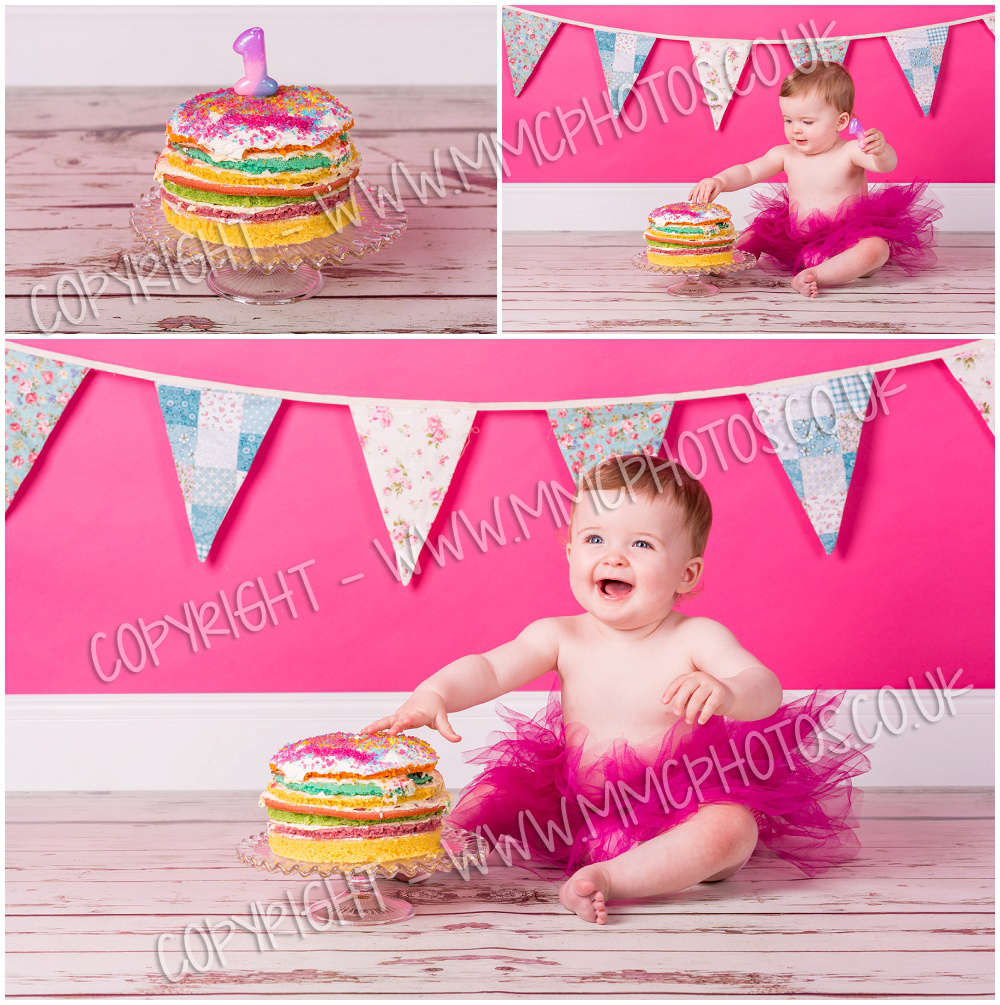 Cake Smash, Glasgow, Shotts, Motherwell, Lanarkshire, Cambuslang, Scotland, Pink, Baby, Tutu, birthday, 1, celebration, bunting, cake, mess, photography, photo, photographer, picture
