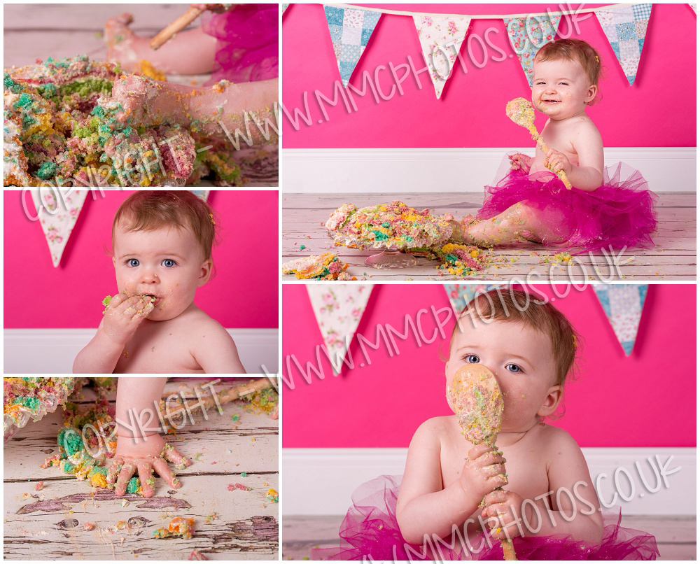 Studio, Glasgow, Shotts, Motherwell, Lanarkshire, Cambuslang, Scotland, Pink, Baby, Tutu, birthday, 1, celebration, bunting, cake, mess, photography, photo, photographer, picture